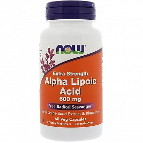 NOW Alpha Lipoic Acid, Альфа-Липоевая Кислота 600 мг - 60 капсул