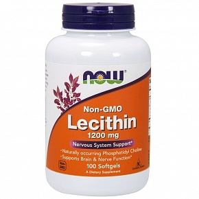 NOW Lecithin, Лецитин 1200 мг - 100 желатиновых капсул