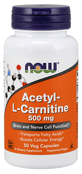 NOW Acetyl-L-Carnitine, Ацетил-L-Карнитин 500 мг - 50 капсул