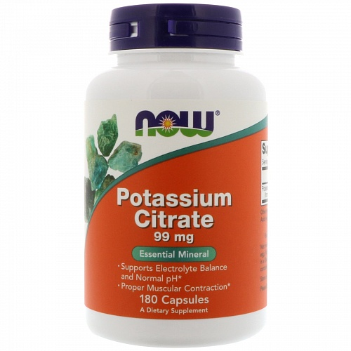 NOW Potassium Citrare, Калий Цитрат 99 мг - 180 капсул