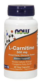 NOW L-Carnitine, L-Карнитин 500 мг - 60 капсул