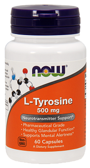 NOW L-Tyrosine, L-Тирозин 500 мг - 60 капсул