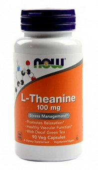 NOW L-Theanine, L-Тианин 100 мг - 90 капсул