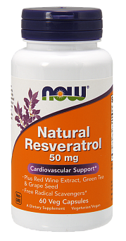 NOW Resveratrol Natural, Ресвератрол Натуральный 50 мг - 60 капсул