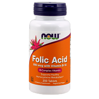 NOW Folic Acid, Фолиевая Кислота 800 мкг и Витамин B-12 - 250 таблеток