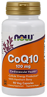 NOW Q10 Coenzyme, Кофермент Q10 100 мг + Боярышник - 90 капсул