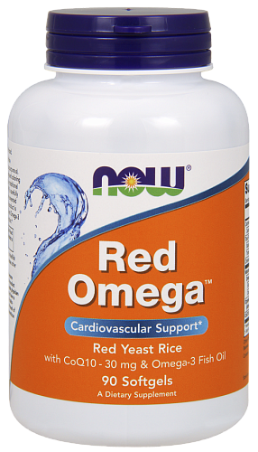 NOW Omega-3 Red Rice + Q10, Омега-3 Красный Рис + Q10 - 90 капсул