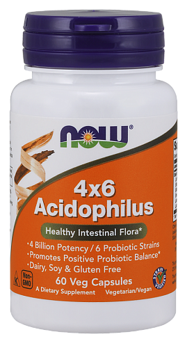 NOW Acidophilus, Ацидофилус, Пробиотик - 60 капсул