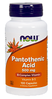 NOW Pantothenic Acid, Витамин Б-5, Пантотеновая Кислота 500 мг - 100 капсул